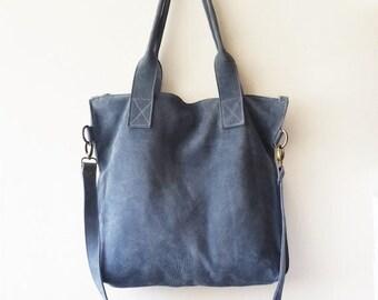 ON SALE Blue leather tote - Handbag - Cross-body bag - Every day bag - Women bag - Shoulder leather bag