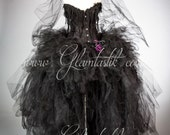 Size sm black and purple widowed bride corset dress with veil, bouquet, gauze, and roses ready to ship