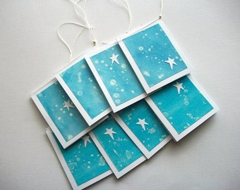 Gift Tags Hand Painted Watercolor Paper with White Stars 8 pcs