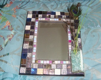 MOSAIC MIRROR, Accent Mirror, Antique Bottle Vase, Purple, Brown, Silver, Aqua