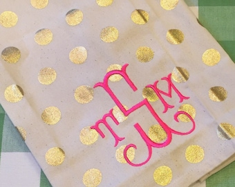 Monogram gold dot tea towels