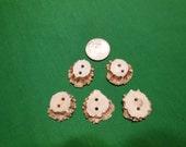 5 Antler Burr Buttons lot 127