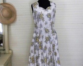 Vintage Dress, 1960s Cotton Sundress, Size Medium Sundress, Cotton Dress, Floral Print Sundress, 1960s Sundress, Size Medium Vintage Dresses