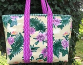 The Old Key West--large oilcloth tote bag with tropical flowers and palm fronds