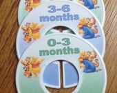 Baby Closet Dividers - Winnie the Pooh, Tigger and Eeyore in Blue & Green; Closet Organizers Baby Gift