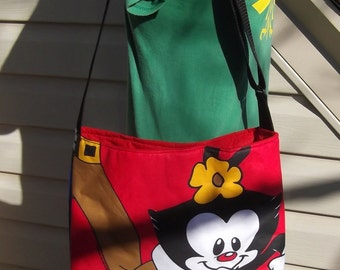 Animaniacs Slouch Bag --  Large Sized   Vintage 90s   Nickelodeon  Cross- Body Adjustable    Wakko Yalkko Dot