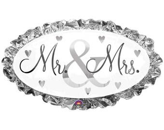 "Mr & Mrs Balloon, Bride and Groom Table Balloon, Wedding Photo Shoot,  32"" Mylar Foil Balloon, Wedding Centerpiece, Bridal Shower"