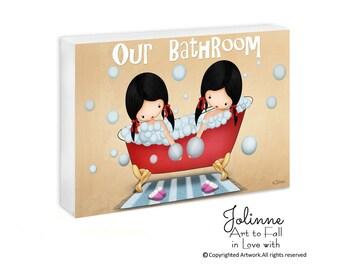 Girls bathroom sign, door sign, kids art, sisters door sign, personalized girls bath sign, children art, custom names door hangers, kids art