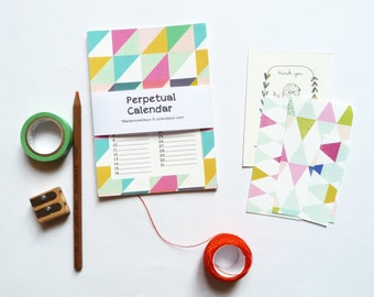 Birthday calendar, Perpetual Calendar, Geometric patterns, save the birthday dates - size 4 x 6 inch