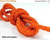 ON SALE Acetino braided silk cord, 6mm, orange, / 2 meters