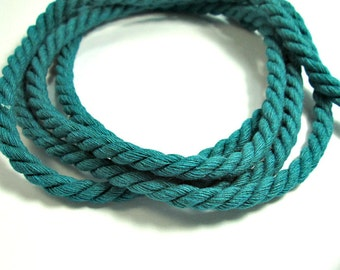 Twisted cotton cord, 8 mm, dark teal, 2 meters