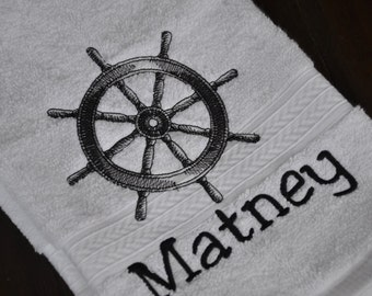 Embroidered Dish Towel, Kitchen Towel, Bath Towel, Hand Towel w/ a nautical ship's wheel & choice of name, small phrase, or initials