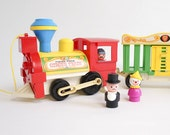 Vintage 1980s Original Fisher Price Circus Train / Missing Monkey and Elephant / Pull Sound Toy, Play Pretend, Primary Colors