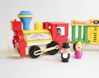 Vintage 1973 Original Fisher Price Circus Train / Missing Animals and Blue Flat Car / Pull Sound Toy, Play Pretend, Primary Colors