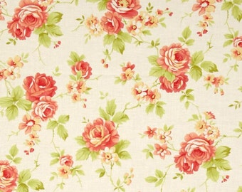 MODA Farmhouse Fig Tree Quilts Fabric Rose Floral Flowers in Milk Ivory Pink 20250-14
