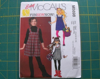 McCall's 5698 Girl's Jumpers Size 7-14 dress Sewing Pattern