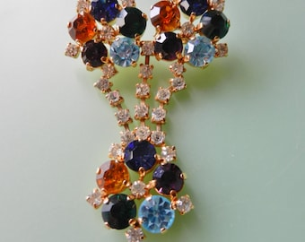 Large Bright 1950s vintage dangle brooch - beautiful multi colored crystals brooch - femininity and glamor -fruit salad Crystals--Art.401-
