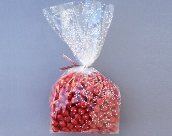 Confetti Dot Cello Bag with Twist Ties (10) Holiday Cookie Bags, White Dot Plastic Bags