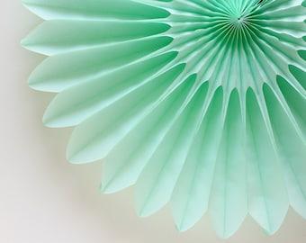 """18"""" Mint Flower Fan, Mint Honeycomb Fan, Mint Tissue Paper Fan, Photo Backdrop, Wedding Decor"""