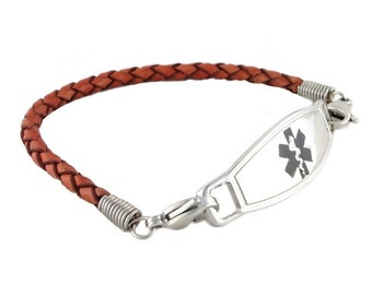Leather Medical ID Bracelet Cognac Braided Faux