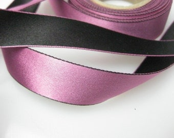 Vintage 30s French double sided satin millinery pink black ribbon Narrow 3/4 inch wide P042