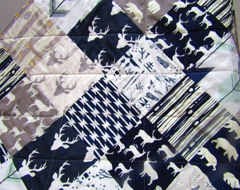 Modern Baby Quilt-Rustic Woodland Baby Bedding-Navy and Gray-Grey-Deer-Buck-Antler-Bear-Arrows-Tribal Baby Blanket