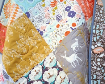Baby Patchwork Quilt-Art Gallery Fabric and more-Deer-Buck-Baby Blanket-Crib Bedding-Modern and-Traditional-Gender Neutral