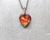 Rough Fire Opal Heart Necklace Black Oxidized Silver Copper Raw Mexican Orange Gemstone Pendant Unique Rustic Primitive Design - Feuerherz