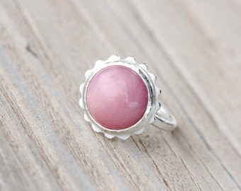 Modern Pink Opal Flower Silver Ring Peruvian Blush Rose Color Gemstone Hammered Texture Feminine Boho Gift Idea October Birthstone - Cosmea