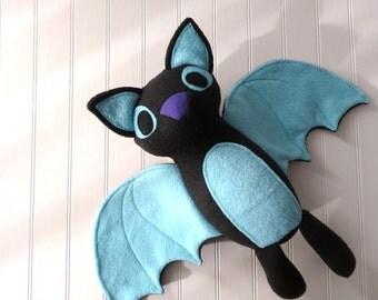 Black Bat Plush, Bat Toy, Stuffed Bat, Black and Blue Bat