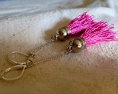 Tassel earrings hot pink with hanging chain long