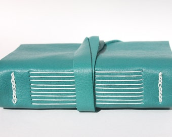Teal Green Leather Notebook or Leather Journal - Handmade by Wee Bindery