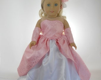 18 inch doll clothes made to fit dolls such as American Girl®, Pink Taffeta Ball Gown, 08-424