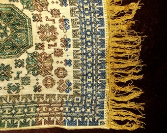 Vintage woven tapestry cloth with fringe