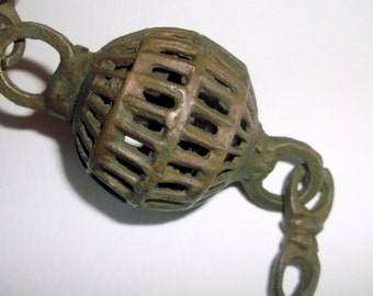 Vintage 2 inch Brass Cage Ball Ornament Pendant