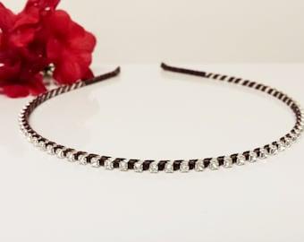 Dark Chocolate Satin Ribbon Enhanced Rhinestone Bridal Headband for Bridesmaid, Prom, Flower Girl or Wedding Party