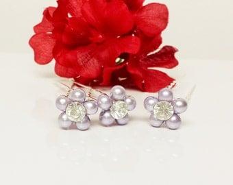 Lavender Pearl Hair Pins - Set of 3 Bridesmaid Hair Pins - Rhinestone Flower Girl Hair Accessories