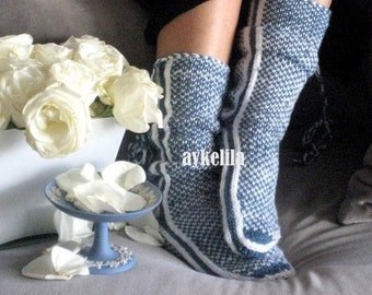 Blue Slippers, Soft Slippers, Warm Slippers, Wool Slippers, Mukluk, Womens Slippers, Winter Slippers
