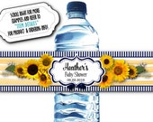 10 Waterproof Peel & Stick Water Bottle Labels, Sunflowers, Navy and Yellow, Wedding, Bridal or Baby Shower, Birthday Party