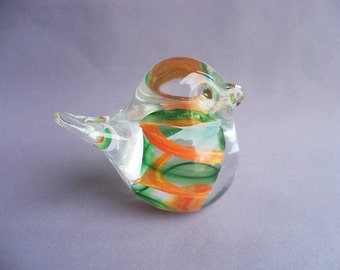 Hand Blown Art Glass Small Orange and Green Bird