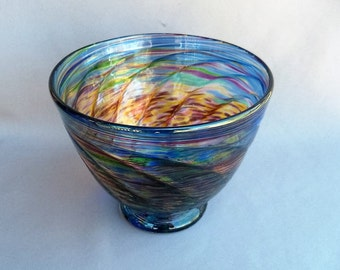 Hand Blown Art Glass Fruit ,Candy Bowl on Foot, Gold and Multi Color