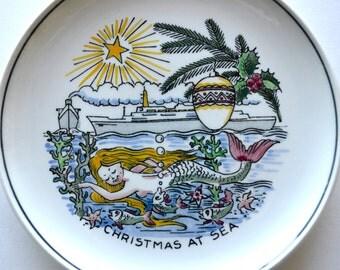 Vintage Holland America Line Christmas At Sea Mermaid Plate Royal Goedewaagen Gouda Holland