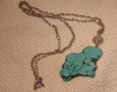 Large Chunky Turquoise Necklace-Silver Turquoise Necklace-Turquoise-Blue Turquoise-Turquoise Jewelry-Roadsidebridge