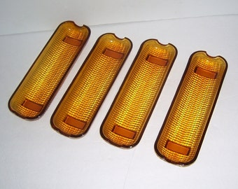 4 Indiana Colony Amber Glass Corn Cob Holders, Footed corn Holders, Home Dining Room, Vintage Kitchen,Retro Kitchen, Cottage Chic