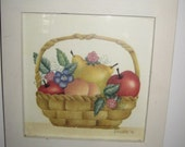 Vintage Theorem Painting/Still Life on Velvet Painting/Country Decor /Fruit Basket Still Life