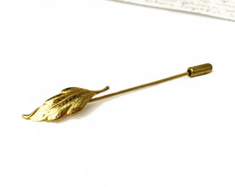 Gold Leaf Hat Pin, Gold Pin, Vintage Hat Pin, Leaf Pin, Hat Pins Vintage,Fall Accessories, Autumn Accessories, Vintage Pins Leaf Accessories