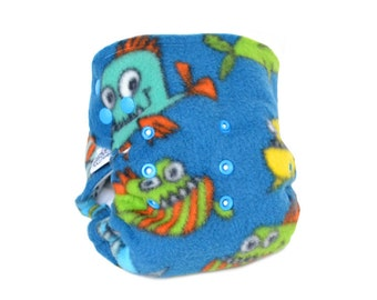 Cloth Diaper Cover OS, Fleece - Fish Monsters, blue