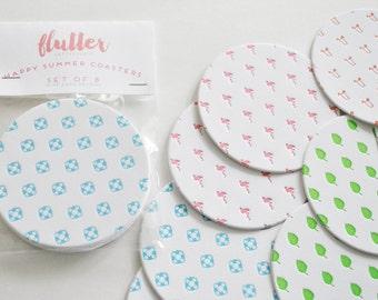 Sunny Summer Letterpress Coasters