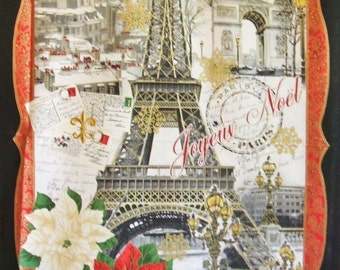 "Christmas Paris 24"" x 44"" Panel Eiffel Tower Timeless Treasures Fabric"