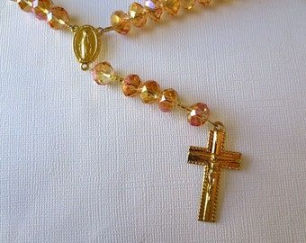 Golden Glass Rosary with Pink Hghlights, Miraculous Medal Center
